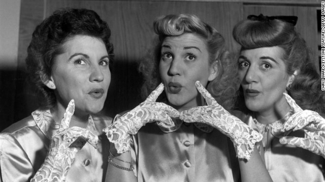 Patty Andrews, center, the last surviving member of the Andrews Sisters, died at her Northridge, California, home on January 30, her publicist Alan Eichler said. She was 94. Patty is seen in this 1948 photograph with her sisters Maxene, left, and Laverne.