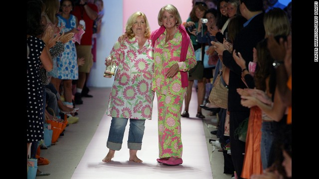 "Designer Lilly Pulitzer, right, died on April 7 at age 81, according to her company's Facebook page. The Palm Beach socialite was known for making sleeveless dresses from bright floral prints that became known as the ""Lilly"" design."